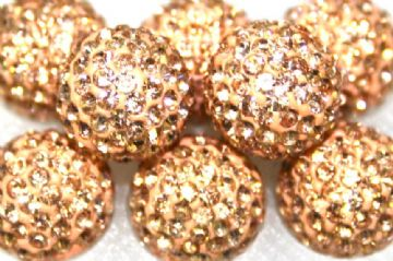 12mm Peach 130 Stone  Pave Crystal Beads- Half Drilled PCBHD12-130-020